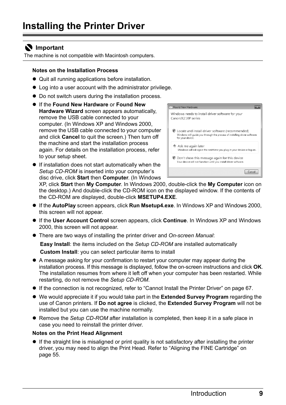 Installing the printer driver | Canon FAX-JX210P User Manual | Page 10 / 86