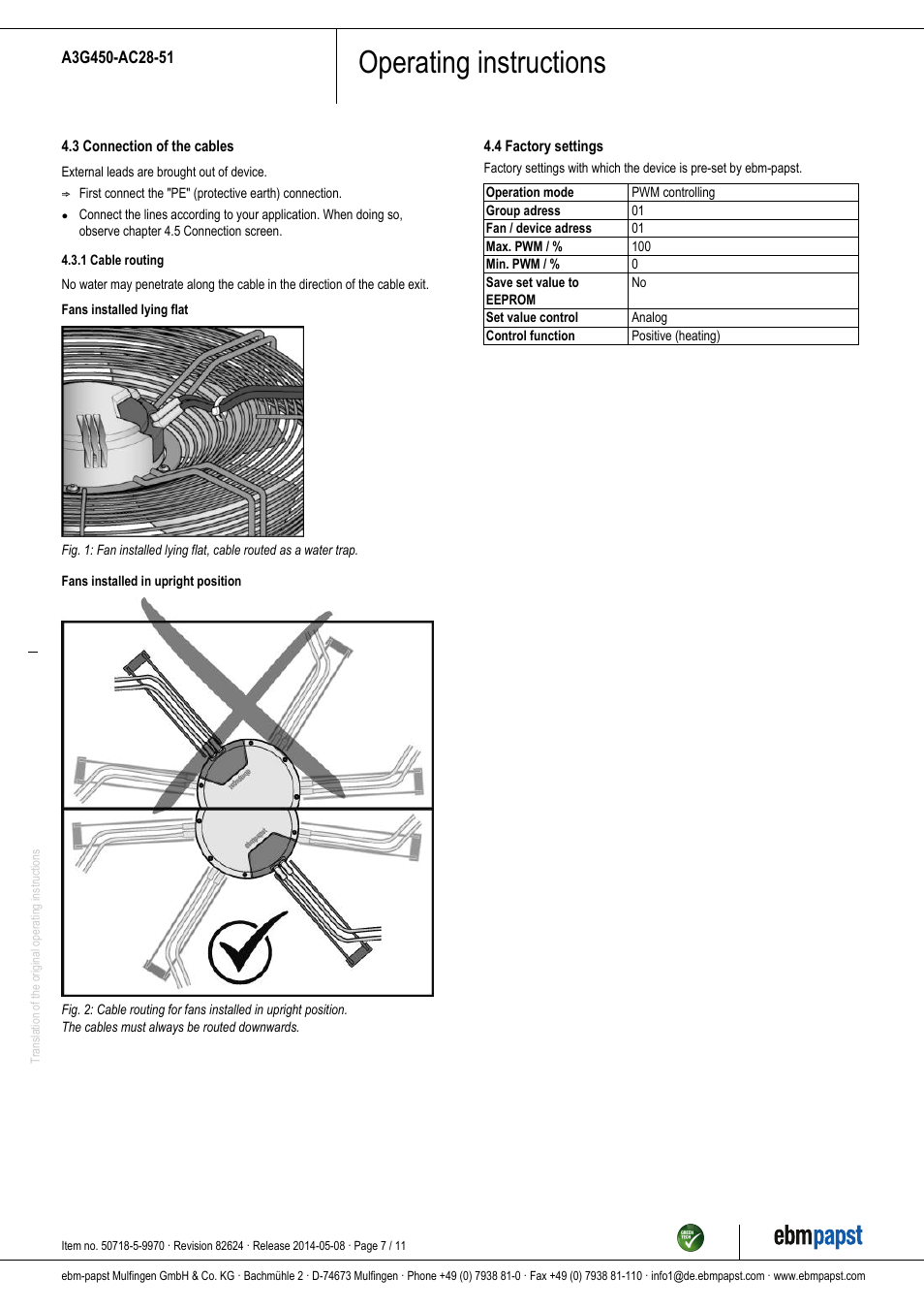 Ebm Papst Fan Wiring Diagram Switchcraft Osram Blower Operating Instructions A3g450 Ac28 51 User Manual Page On