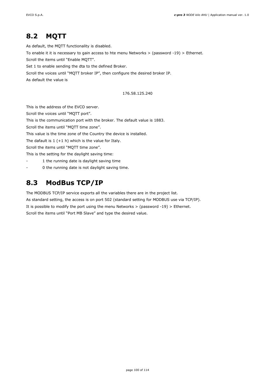 2 mqtt, 3 modbus tcp/ip | EVCO EPK4BHQ1AH Installer manual User