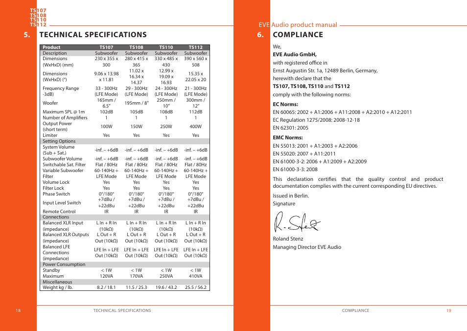 technical specifications compliance eve audio ts112 user manual rh manualsdir com Instruction Manual eve degree user manual