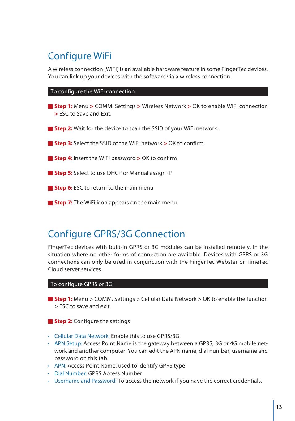 Conf, Igure wifi, Igure gprs/3g connection | FingerTec FMM