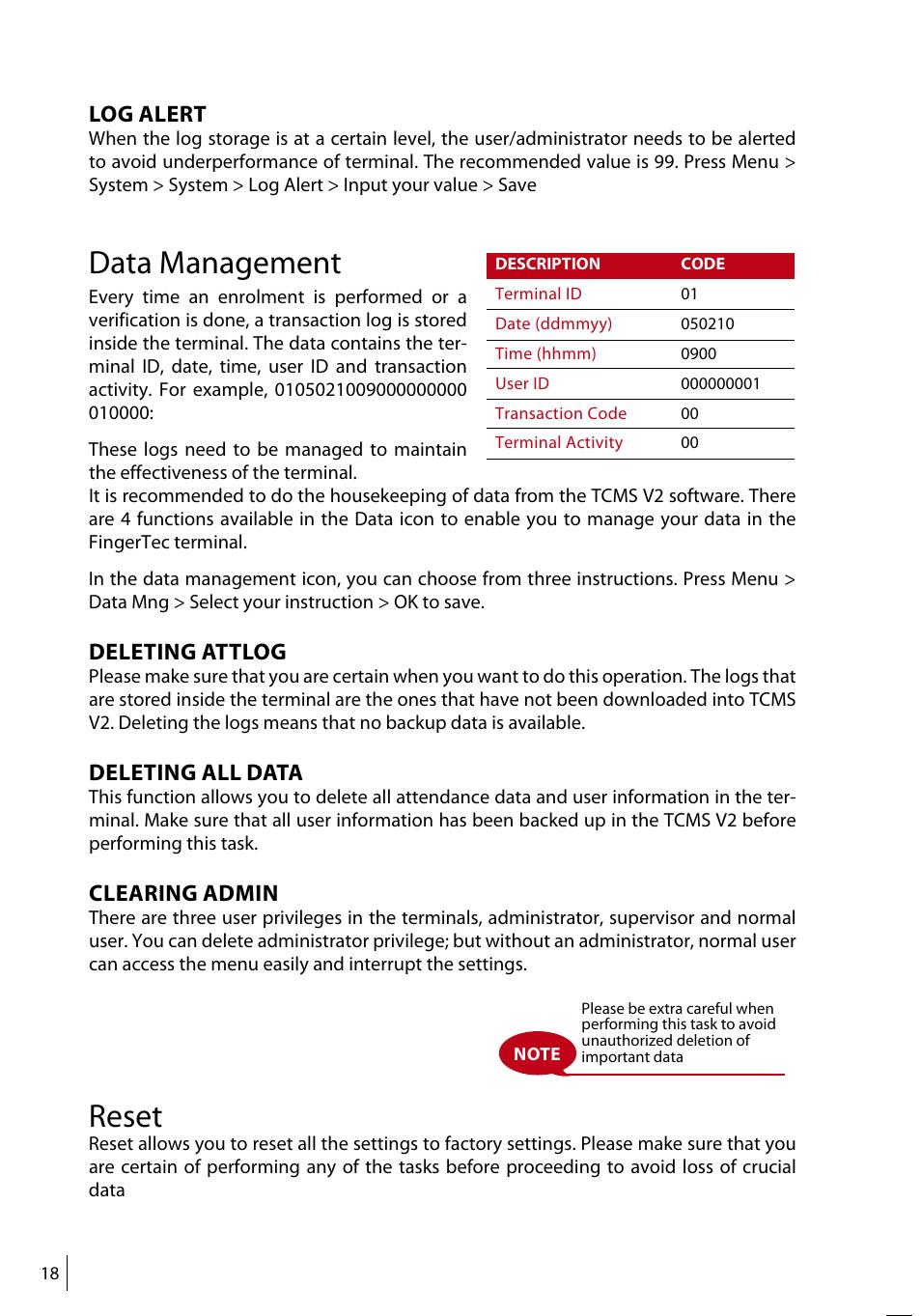 Data management, Reset, Log alert | FingerTec TA500 Manual