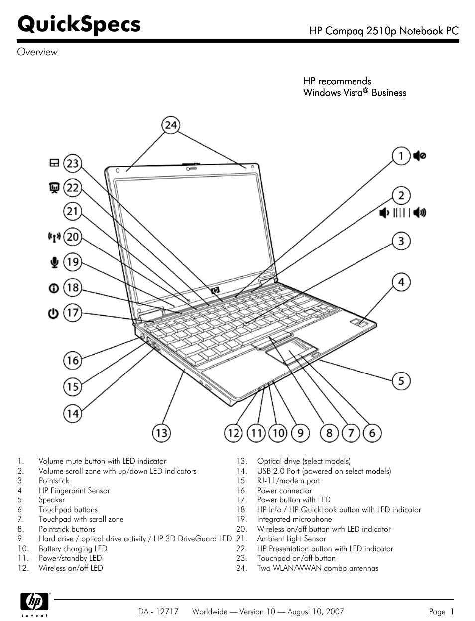compaq 2510p user manual