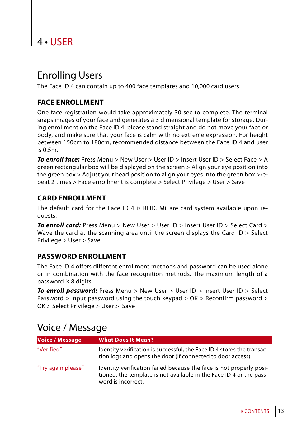 User enrolling users, Voice / message | FingerTec Face ID 4 Manual