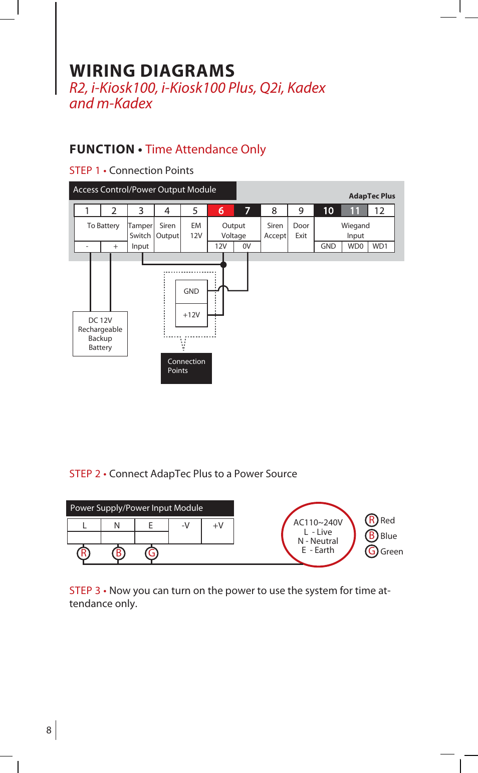Wiring Diagrams  Function  U2022 Time Attendance Only