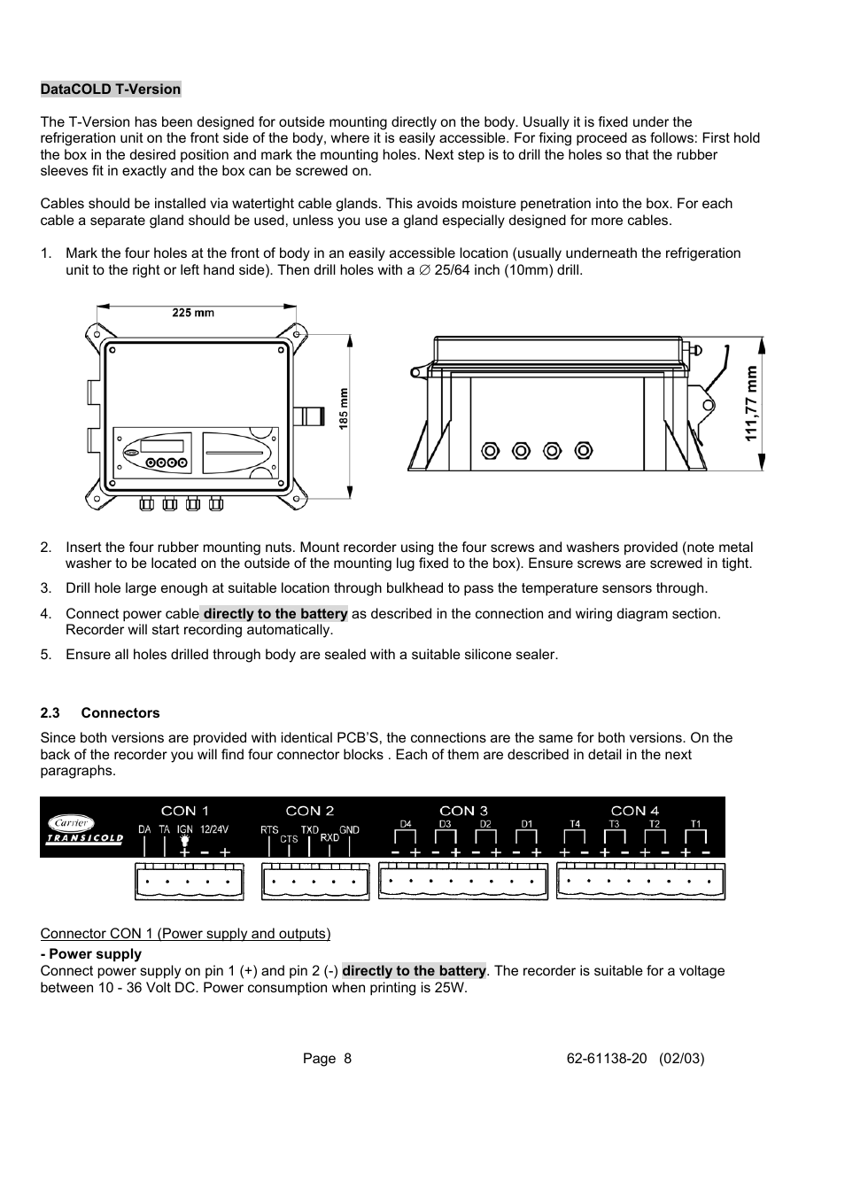 Image Righthand Side Of 2 Page Wiring Diagram Connectors 3 Carrier Datacold 500 T R User Manual 8 30