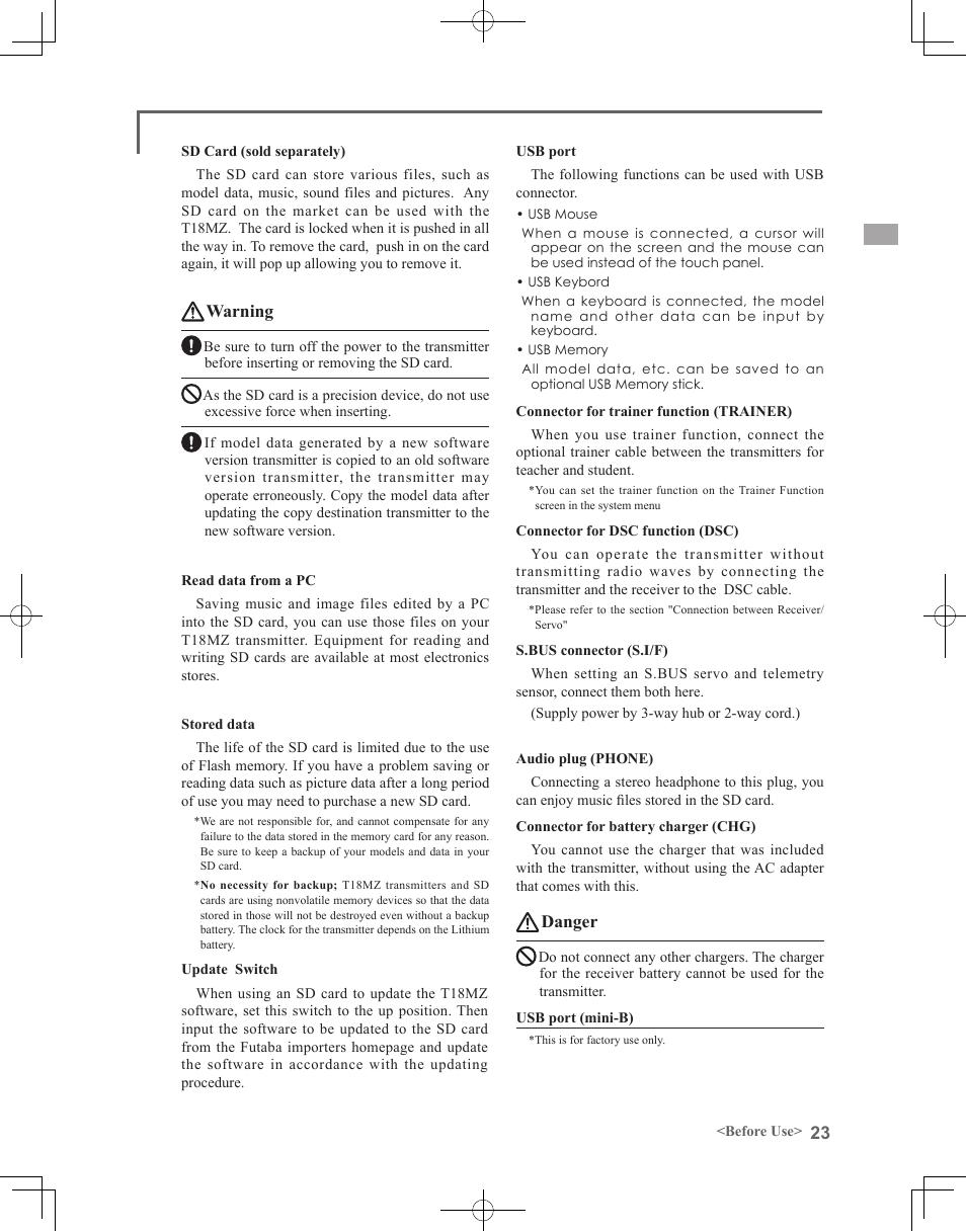 Warning, Danger | Futaba 18MZ 2 4GHz User Manual | Page 23 / 164