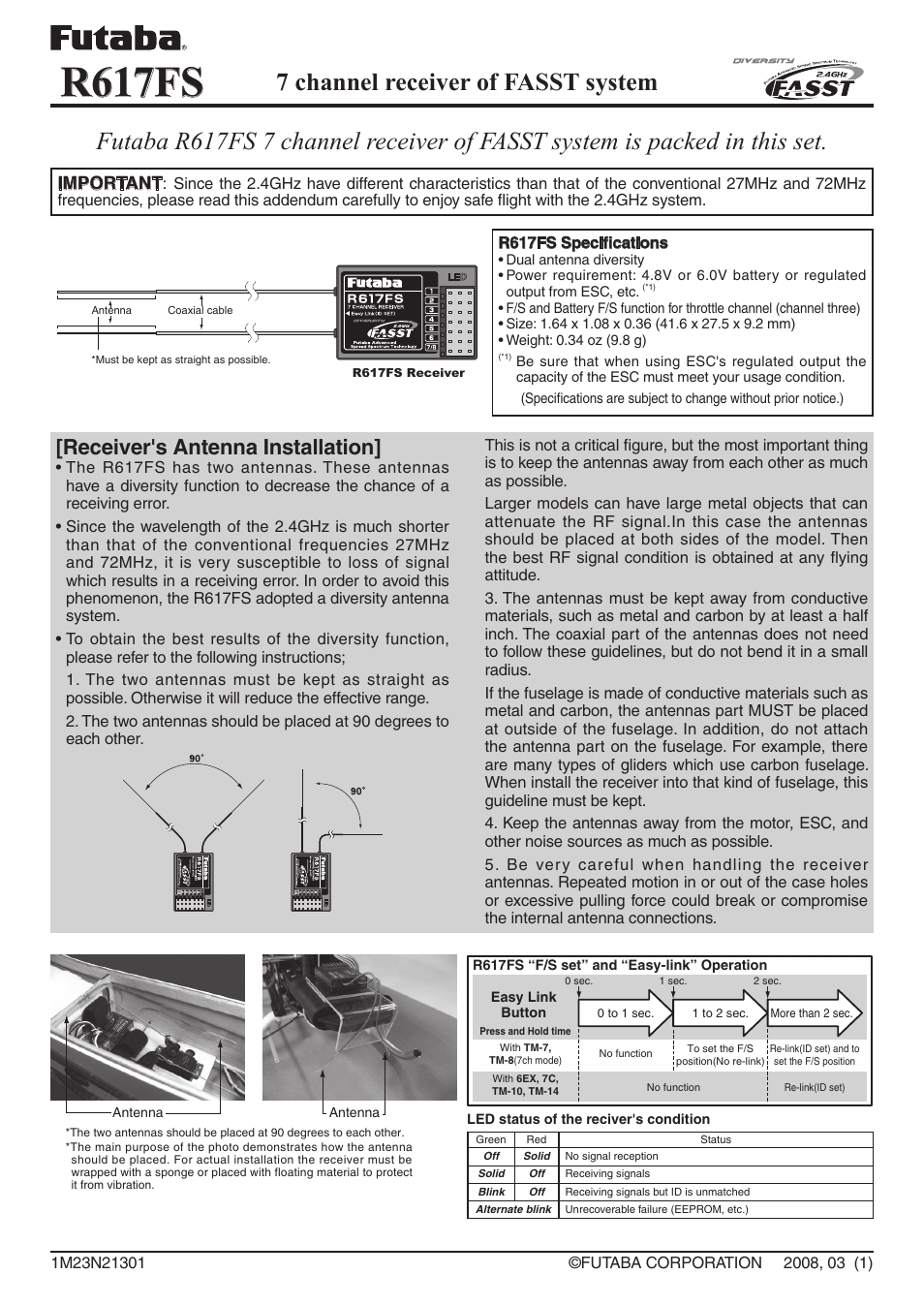 Futaba R617FS User Manual | 1 page on futaba receivers 2 4ghz, futaba 617 receiver, futaba r607fs receiver, futaba receiver compatibility, futaba receiver wiring,