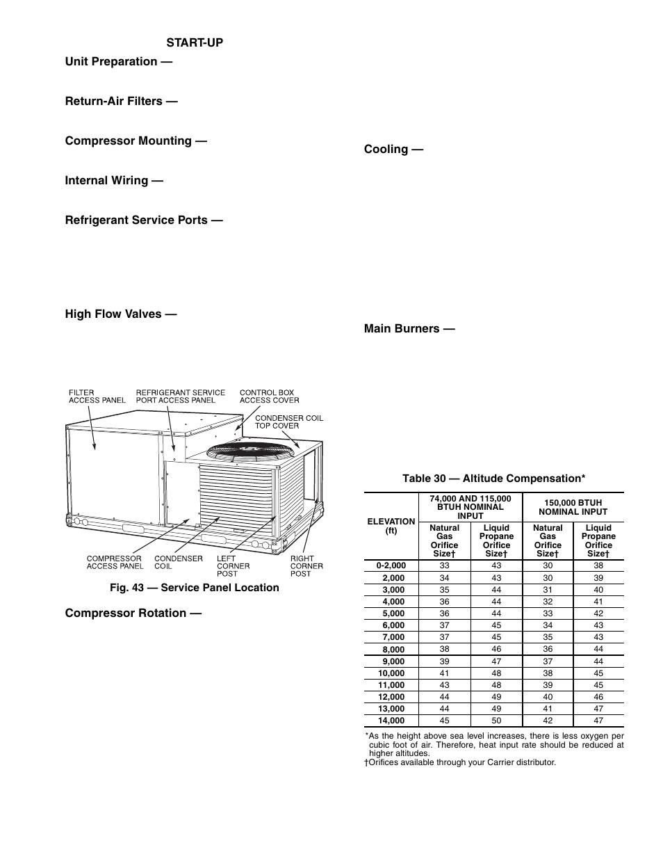Start-up unit preparation, Return-air filters, Compressor mounting |  Internal wiring