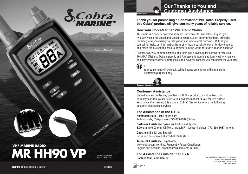cobra electronics mr hh90 vp user manual 23 pages rh manualsdir com cobra marine handheld radio manual cobra marine vhf radio manual