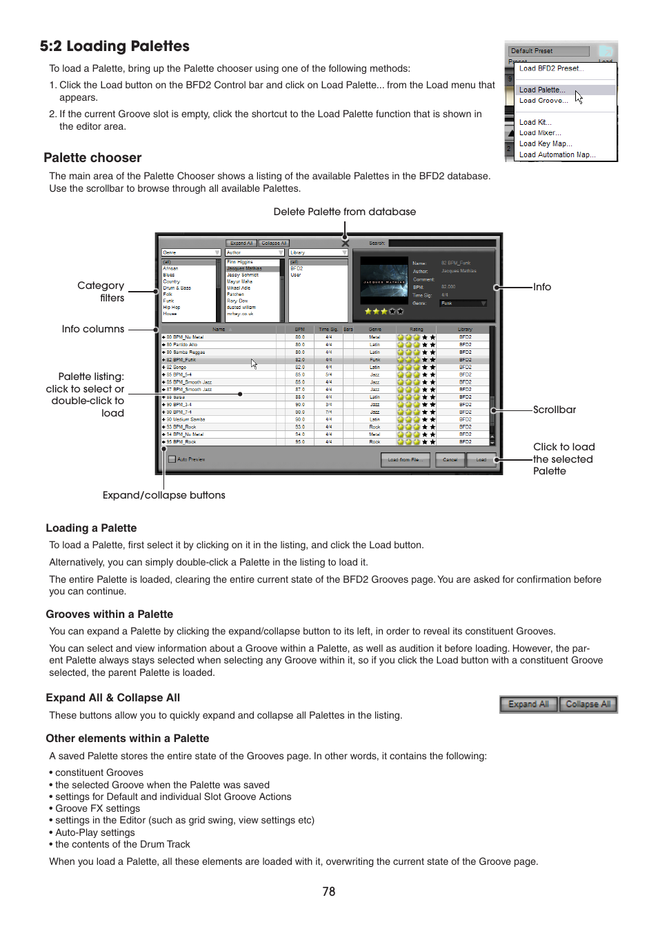 2 Loading Palettes Palette Chooser Fxpansion Bfd2 Manual
