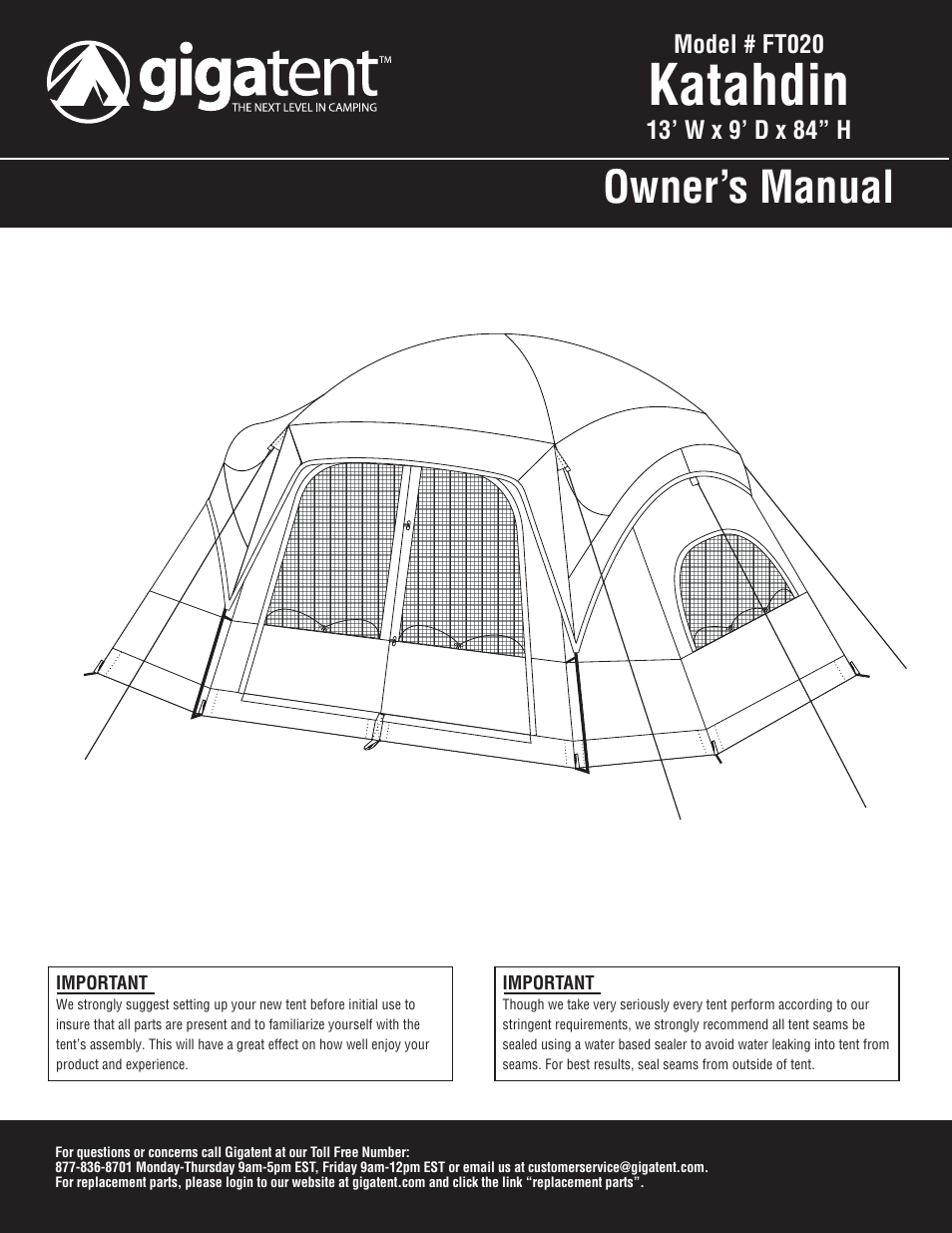 d8f9d2ee913 Giga Tent FT 020 User Manual | 8 pages