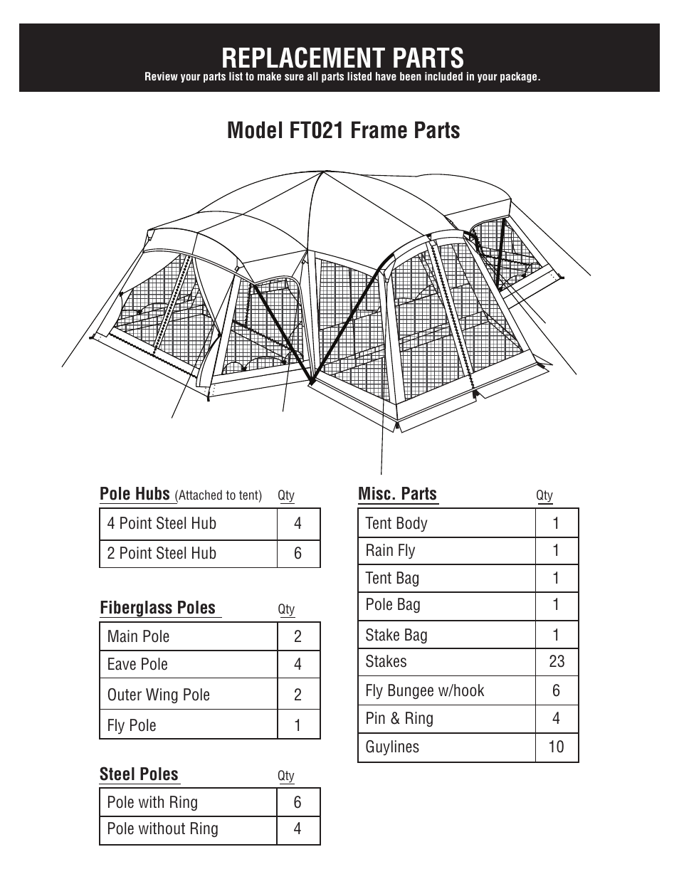Replacement parts, Model ft021 frame parts | Giga Tent FT