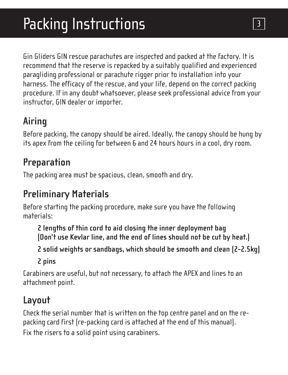 Packing instructions | GIN One G User Manual | Page 4 / 20