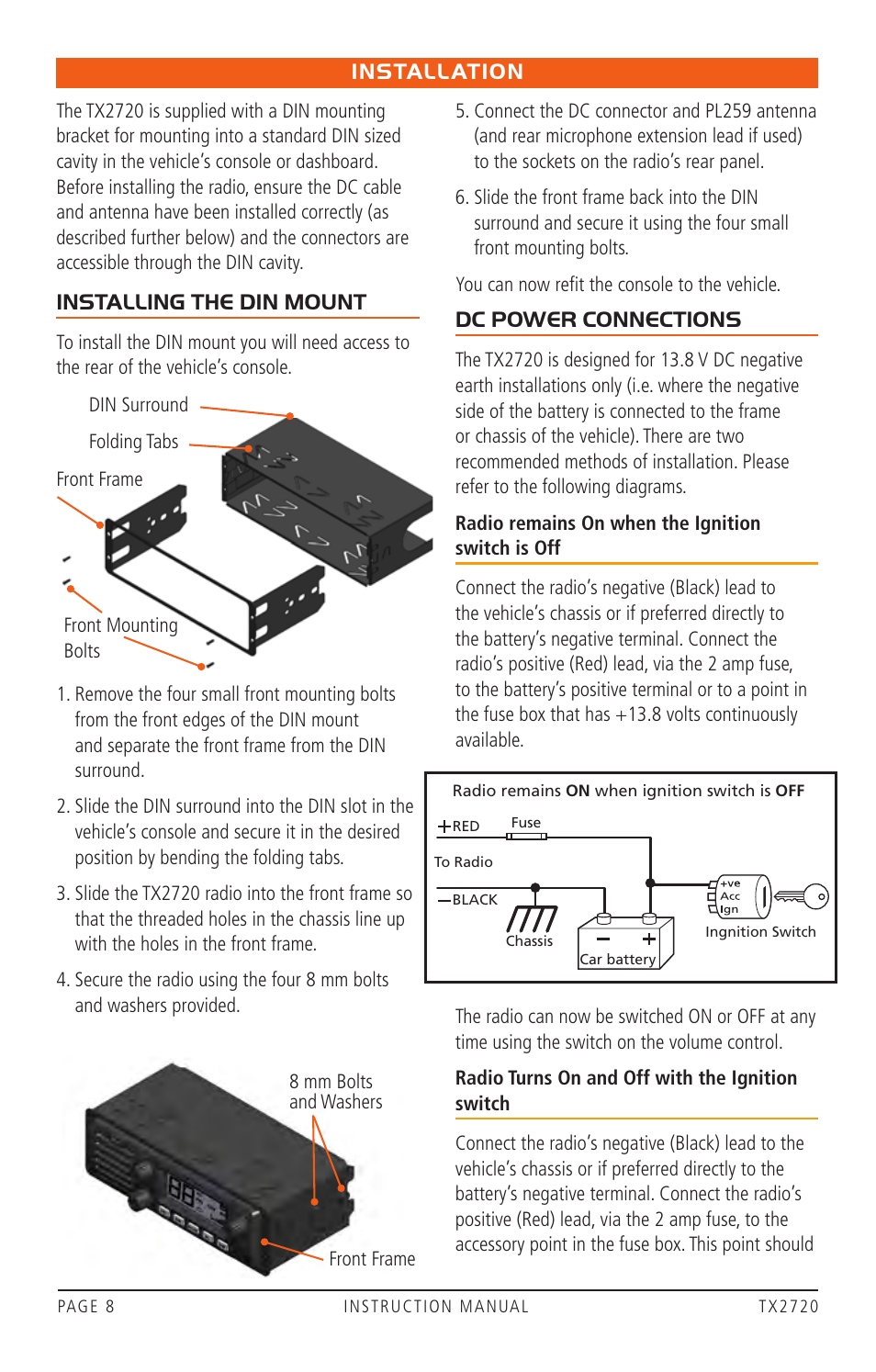 Installation Installing The Din Mount Dc Power Connections Gme Car Fuse Box Positive Negative Tx2720 User Manual Page 8 12