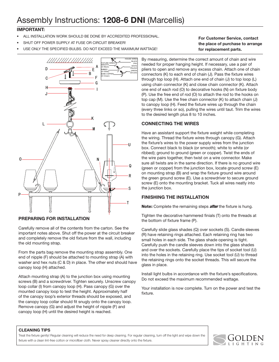 Golden Lighting 1208 6 Dni User Manual 1 Page Wiring A Light Fixture On Loop