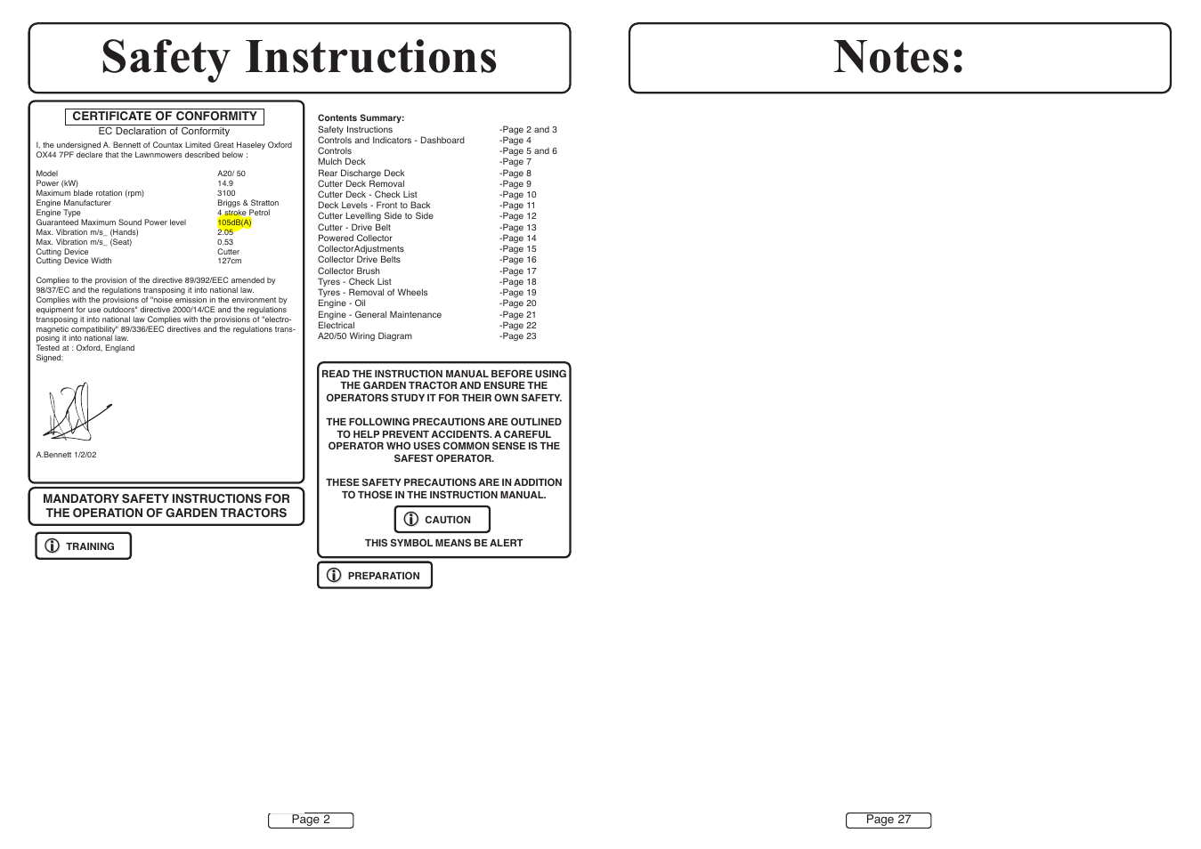 Countax A50 User Manual Page 2 14 Original Mode Also For A20 Bennett Wiring Diagram