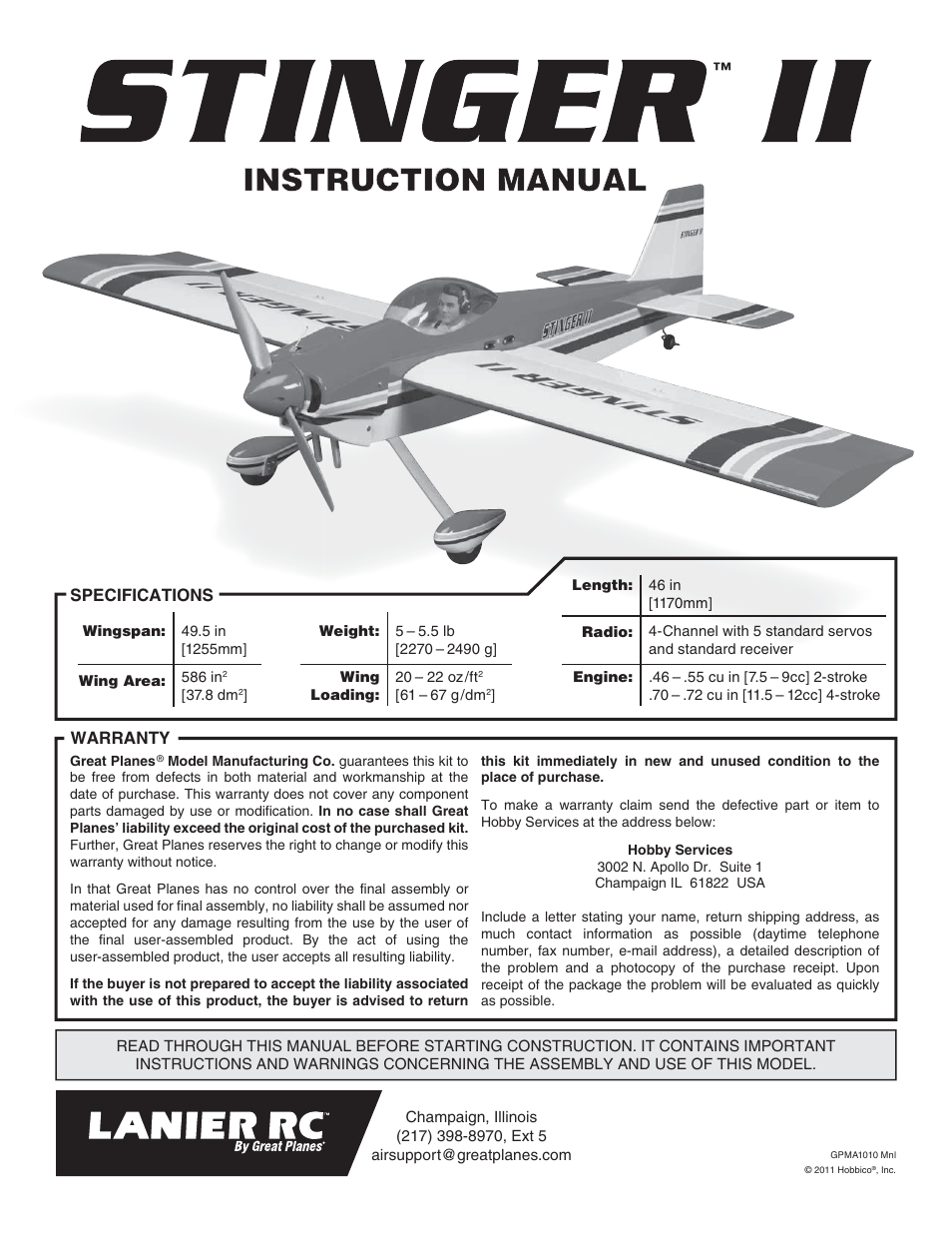 Great Planes Lanier RC Stinger II - GPMA1010 User Manual | 24 pages