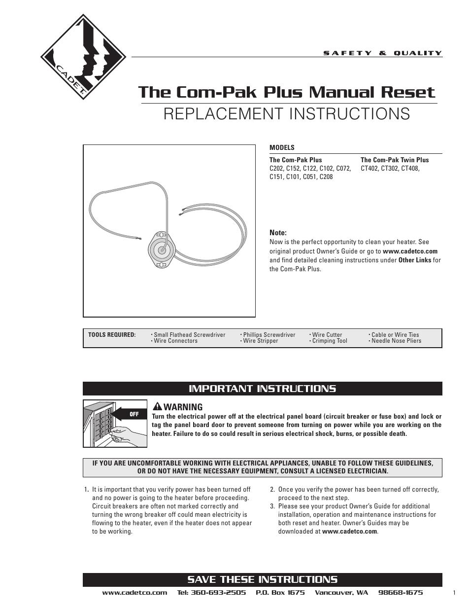 Cadet Ct408 User Manual 2 Pages Also For C208 C202 C102 Step 1 Turn Off Power At Circuit Breaker Ct402 Ct302 C101 C122 C152 C051 C072 C151