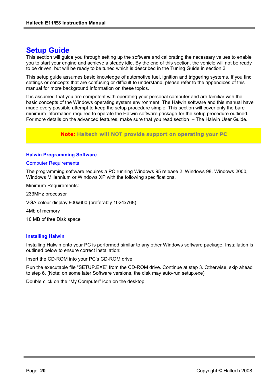 Setup guide | Haltech E8 User Manual | Page 20 / 177