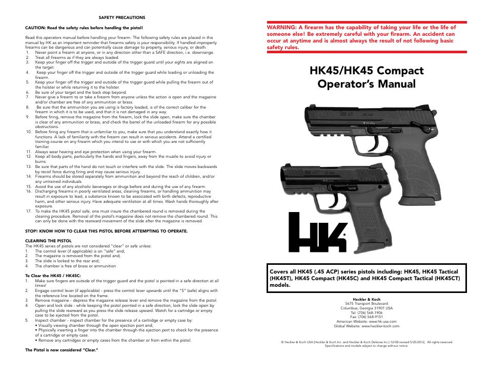 Hk45/hk45 compact operator's manual   Heckler&Koch HK45