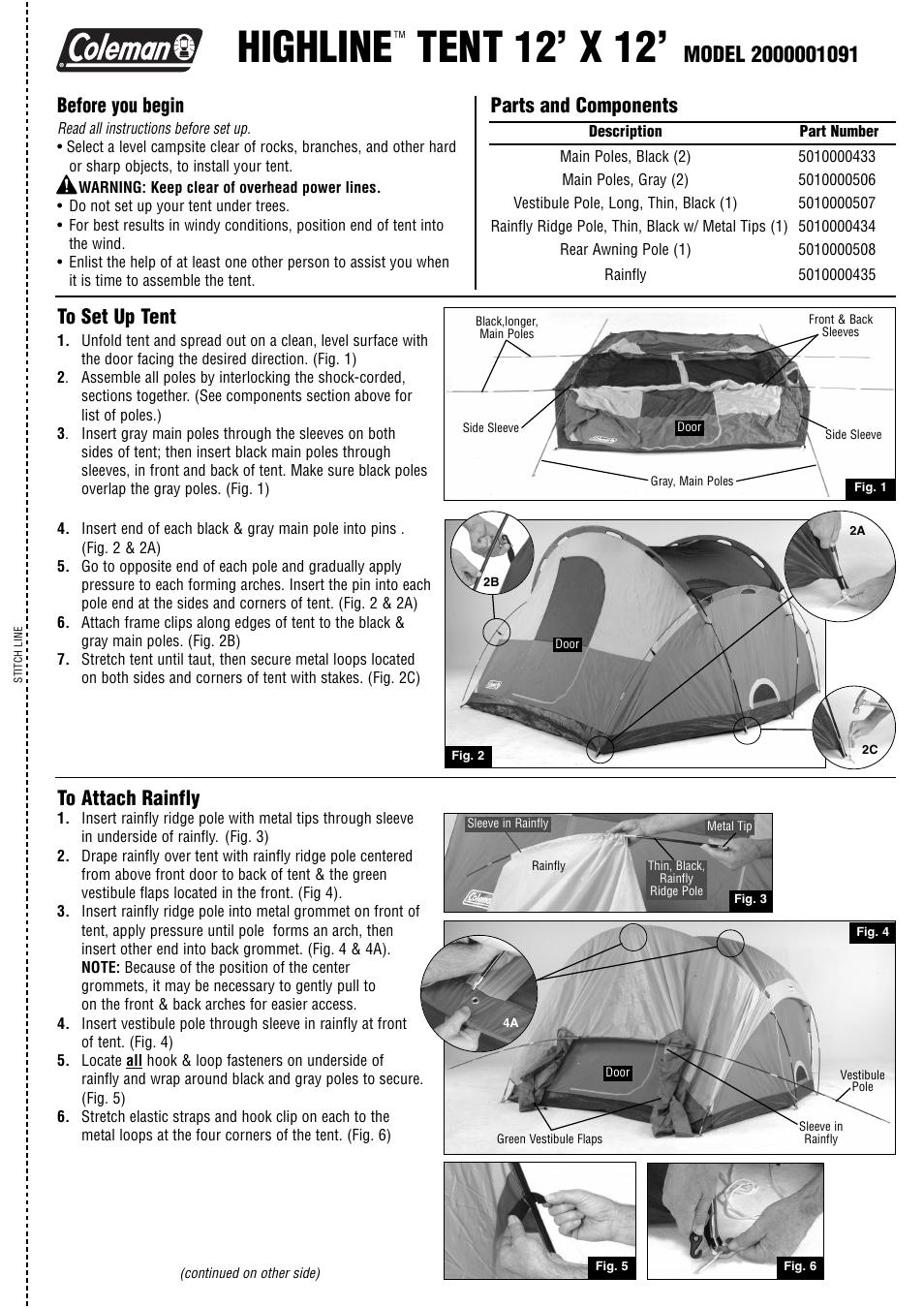 sc 1 st  manualsdir.com & Coleman HIGHLINE 2000001091 User Manual | 2 pages