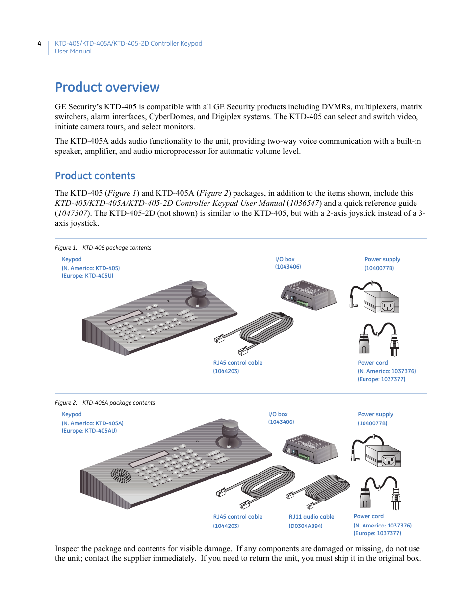 Product overview, Product contents, Figure 1. ktd-405 package contents    Interlogix KTD-405 Series User Manual User Manual   Page 8 / 76