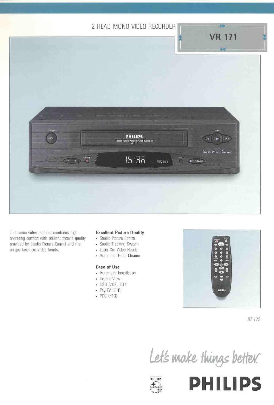 philips vr171 user manual
