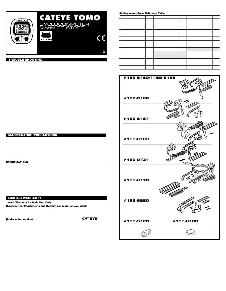 Kenmore Model 68272 Manual Suzuki Gsf1200s 1996 8211 1999 Electrical Wiring Diagram Image Array Cateye Tomo Cc St 200 User 2 Pages Also For St200