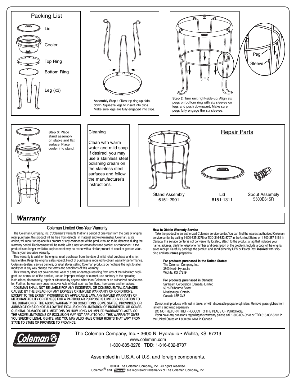 Warranty  Packing List  Repair Parts