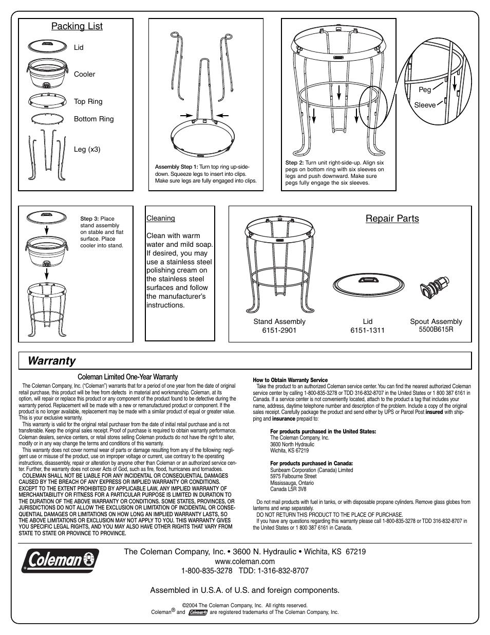 Warranty  Packing List  Repair Parts