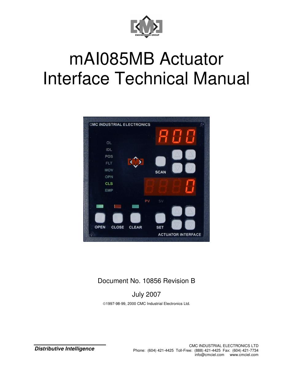cmc electronic mai085mb user manual 50 pages rh manualsdir com Telent plc Vision System
