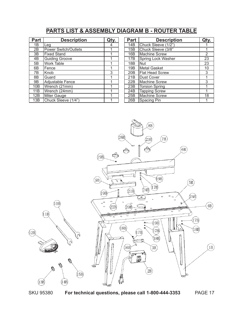 Parts List  U0026 Assembly Diagram B