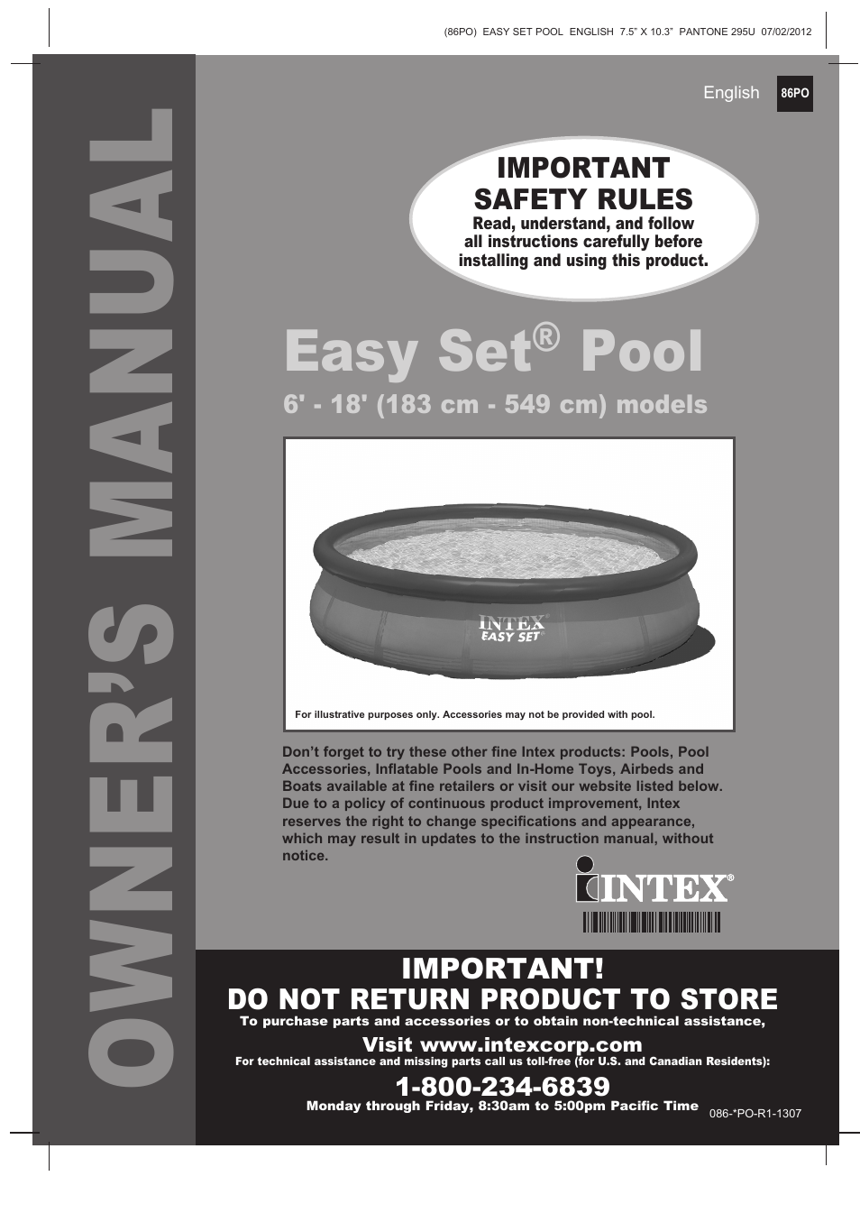 Intex 12 Ft X 30 In Easy Set Pool 2013 User Manual 15 Pages Also