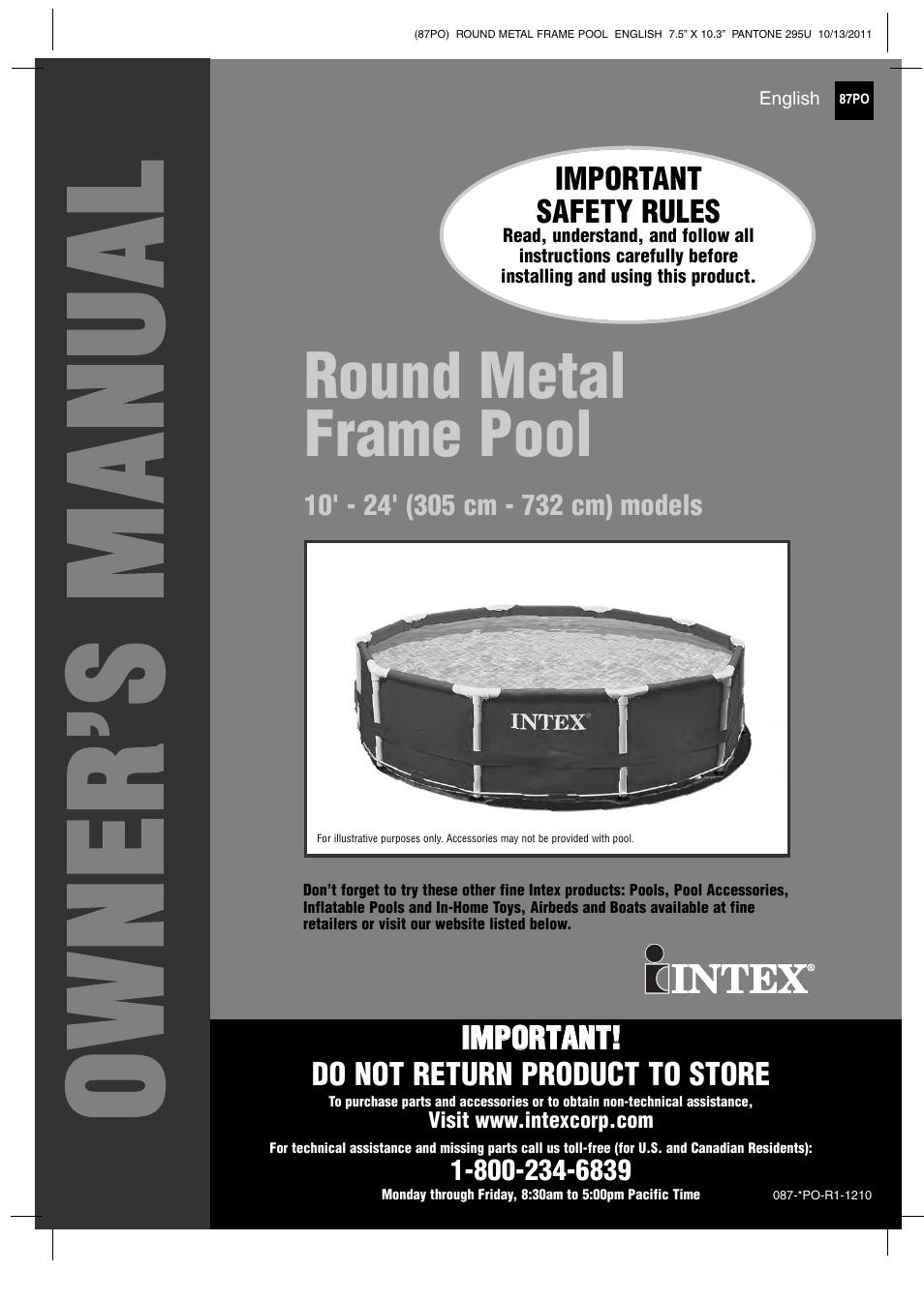 Intex 18 Ft X 48 In Metal Frame Pool User Manual 19