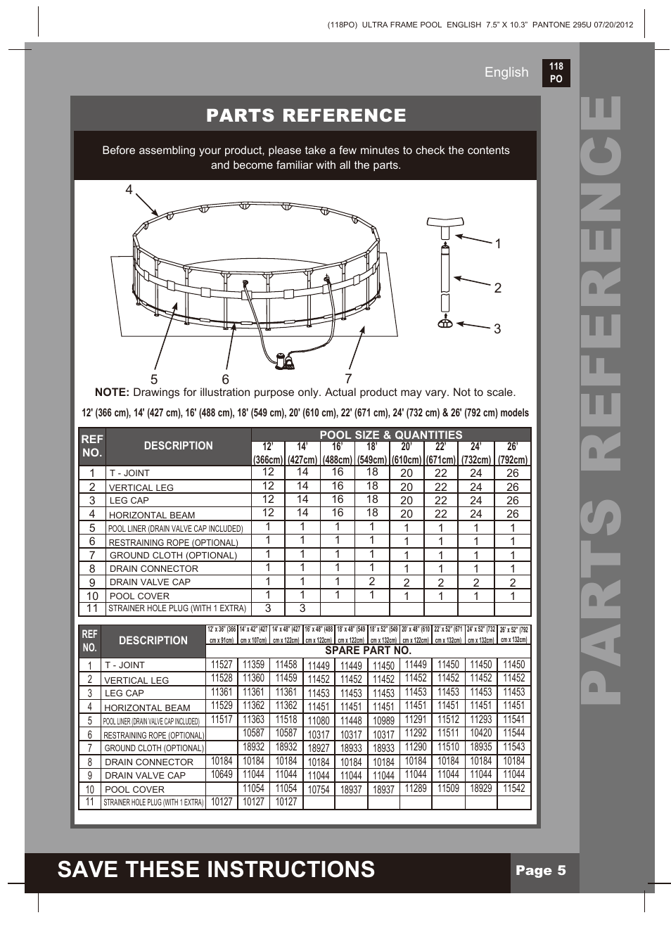 Parts reference, Save these instructions, Page 5 english | Intex 18 ...