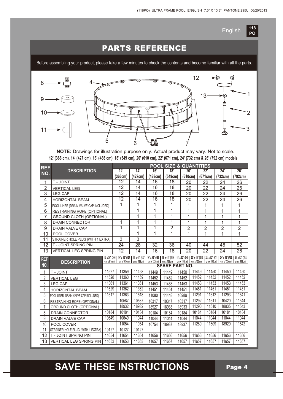 Save These Instructions, Parts Reference, English Page 4 | Intex 18 FT X 52  IN ULTRA FRAME POOL 2014 User Manual | Page 4 / 12
