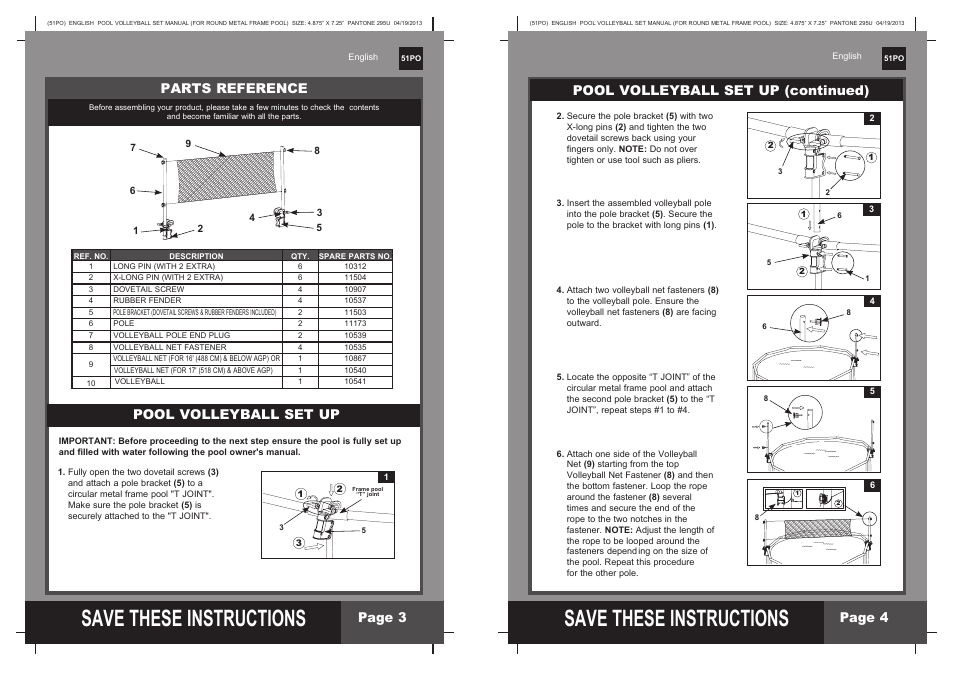 S ave these instructions, Pool volleyball set up (continued), Page 4 ...