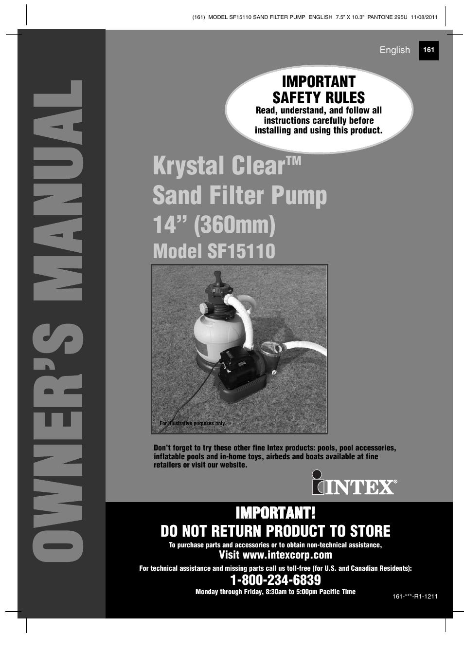 intex sf15110 krystal clear 2012 user manual 30 pages rh manualsdir com Intex Pool Pumps intex sand filter pump model sf15110 manual