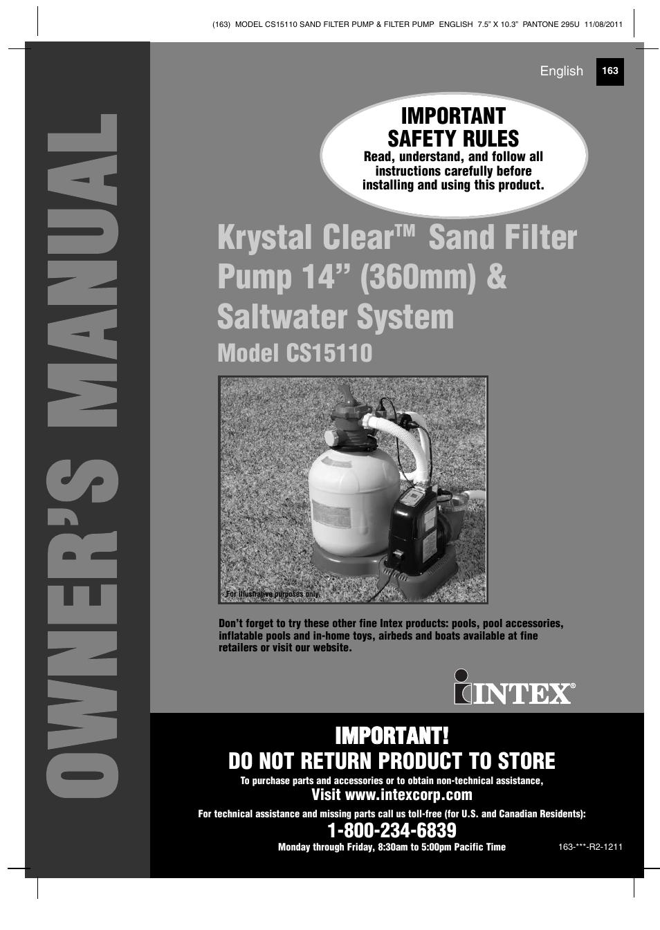 Intex Cs15110 Krystal Clear 2012 User Manual 40 Pages