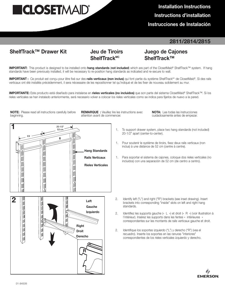 Closet Maid ShelfTrack Drawer Kit 2811 User Manual | 2 Pages | Also For:  ShelfTrack Drawer Kit 2815, ShelfTrack Drawer Kit 2814