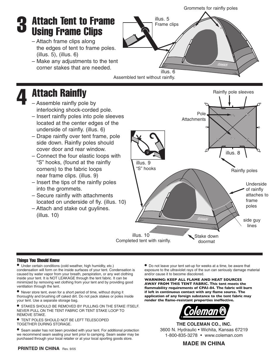 Attach tent to frame using frame clips Attach rainfly | Coleman Kenai 10u0027x8  sc 1 st  ManualsDir.com & Attach tent to frame using frame clips Attach rainfly | Coleman ...