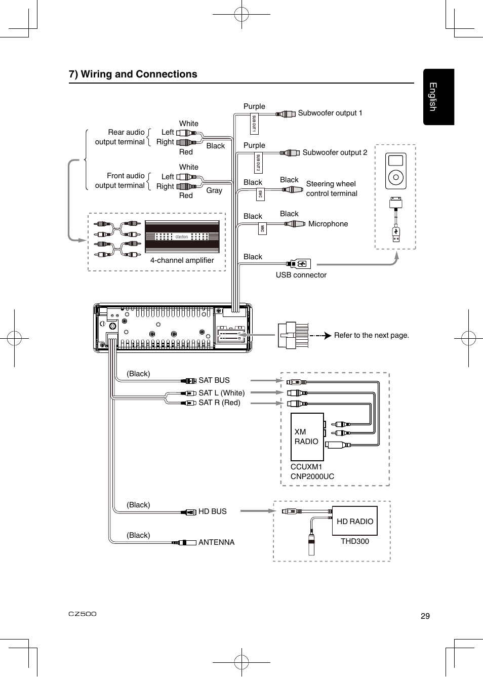 7) wiring and connections | Clarion CZ500 User Manual | Page 29 / 31Manuals Directory