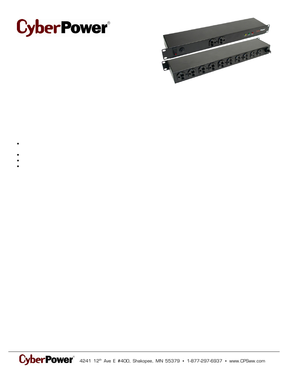 CyberPower CPS1220RMS User Manual | 2 pages