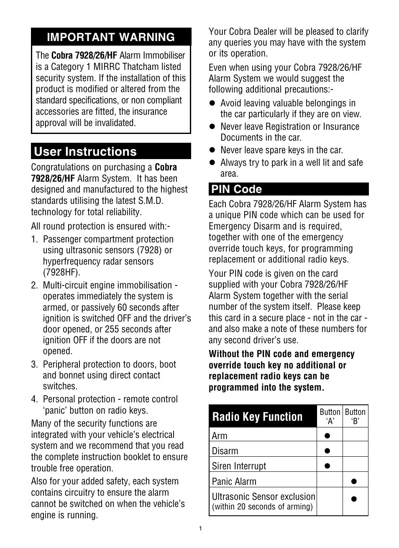 User instructions, Important warning, Pin code | Cobra Electronics