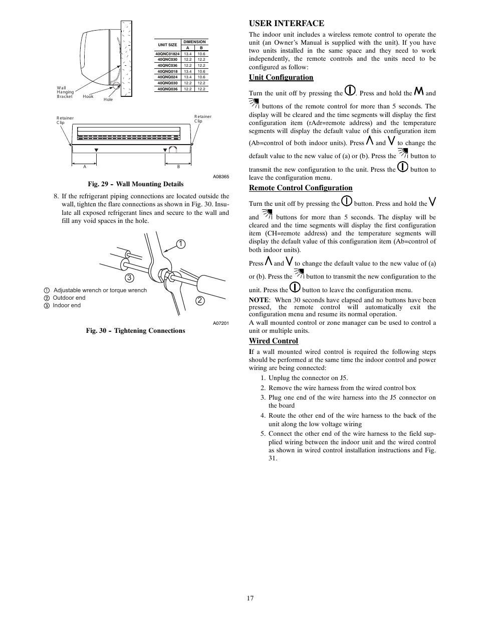 User interface, Unit configuration, Remote control configuration | Carrier  40QNQ User Manual | Page 17 / 24