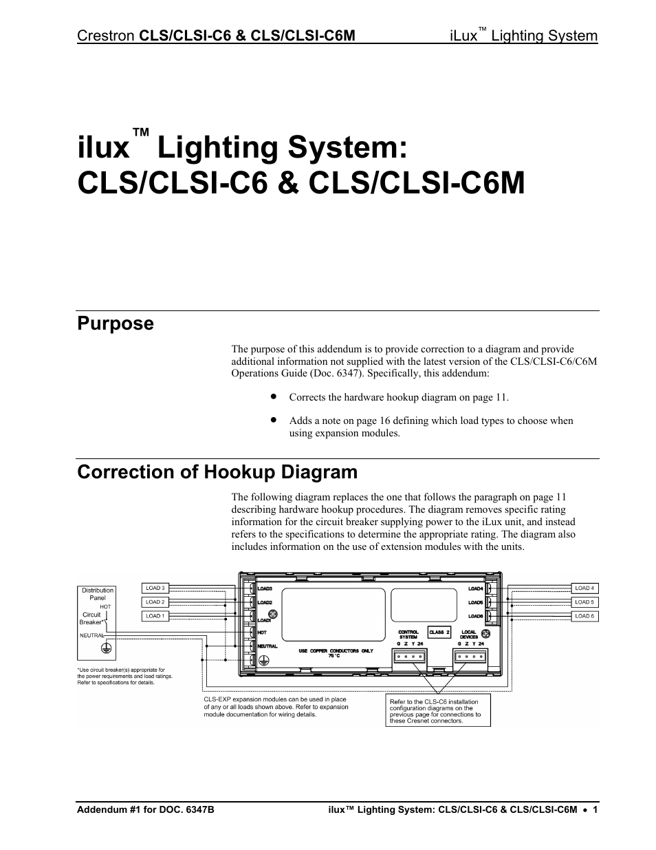 Crestron electronic iLux CLSI-C6M User Manual | 2 pages | Also for: iLux  CLSI-C6Manuals Directory