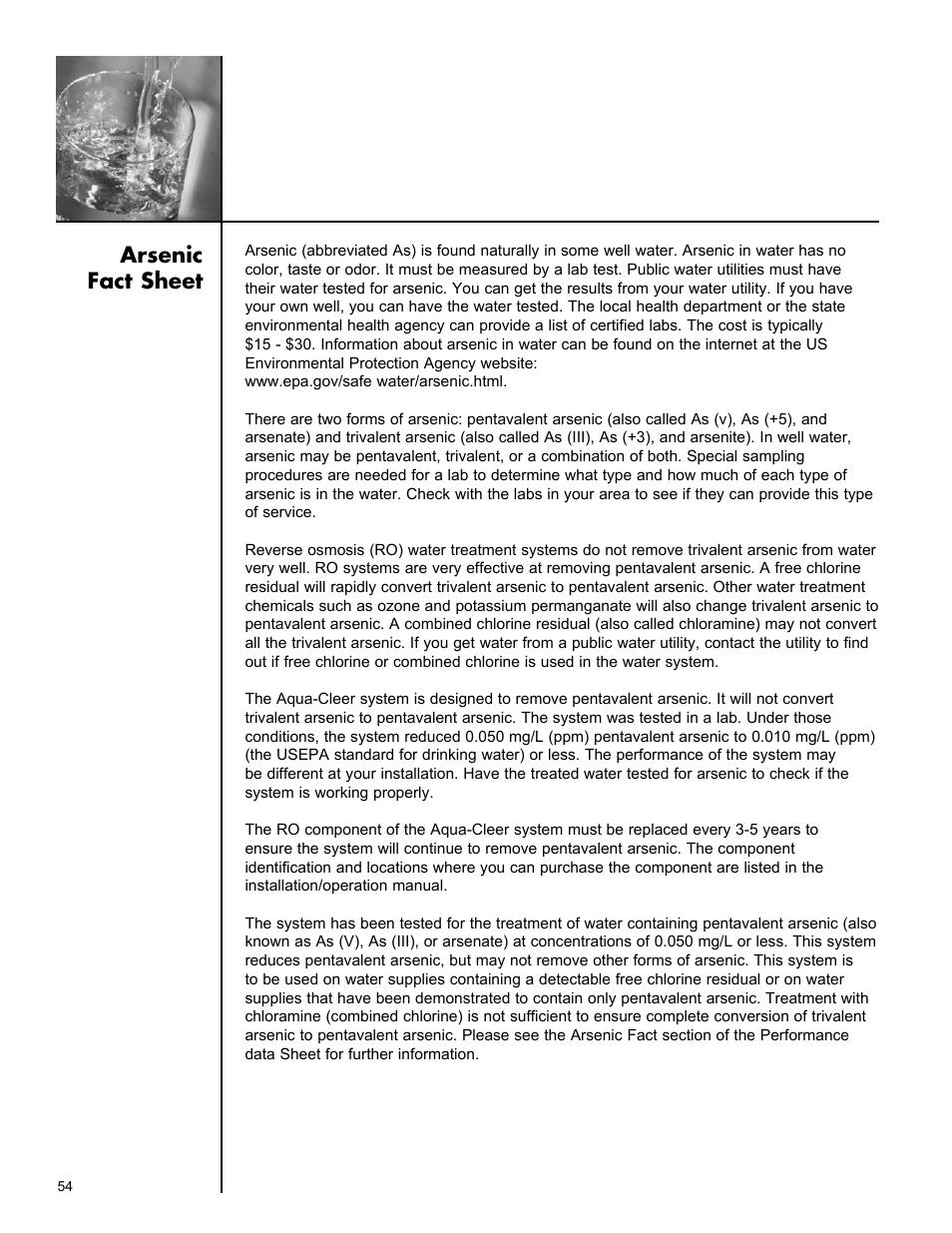 arsenic fact sheet culligan aqua cleer advanced drinking water rh manualsdir com culligan aqua cleer installation instructions culligan aqua cleer ac30 manual