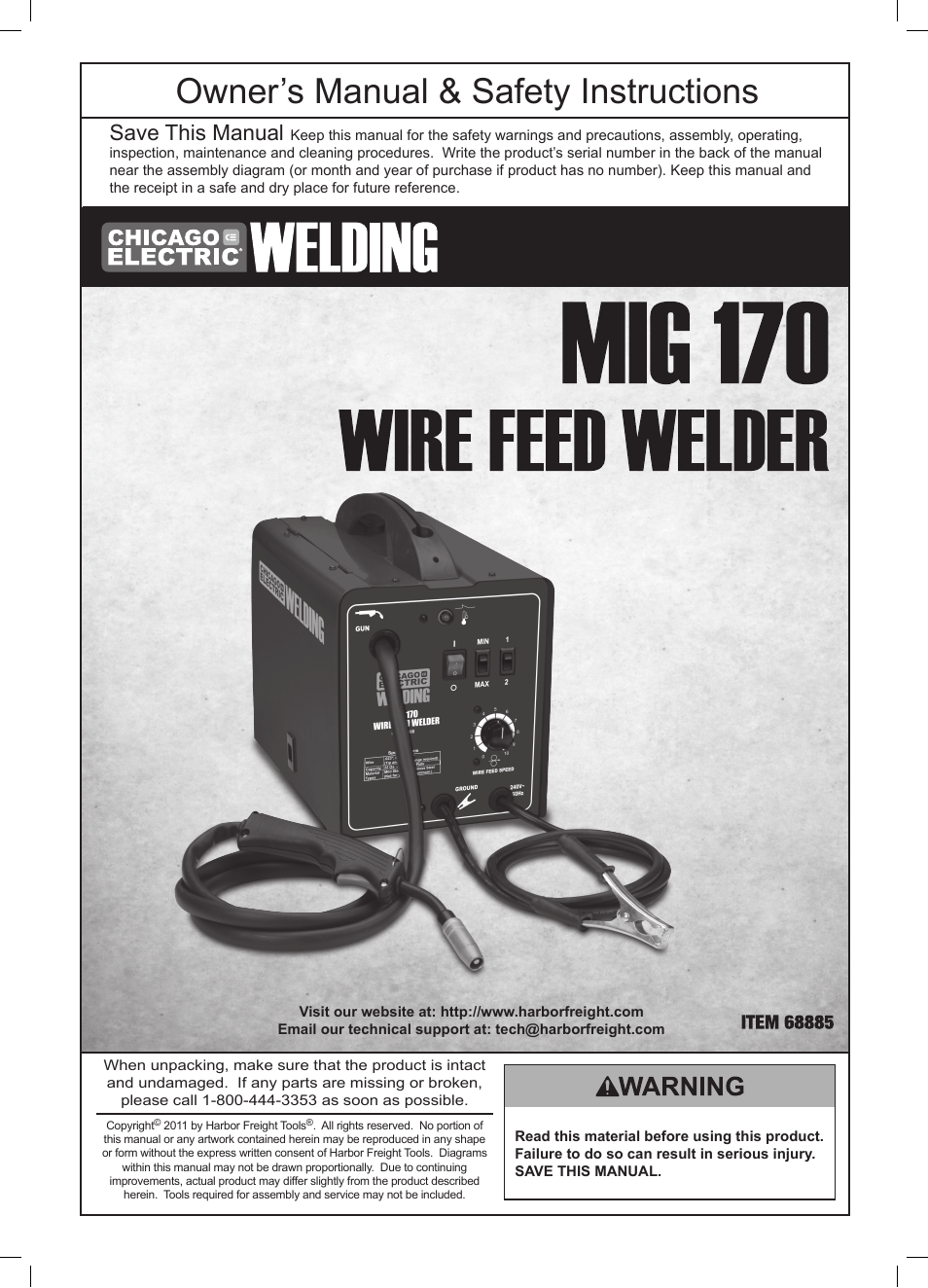 Chicago Electric Wire Feed Welder Mig 170 User Manual 32 Pages 110 Wiring Diagram
