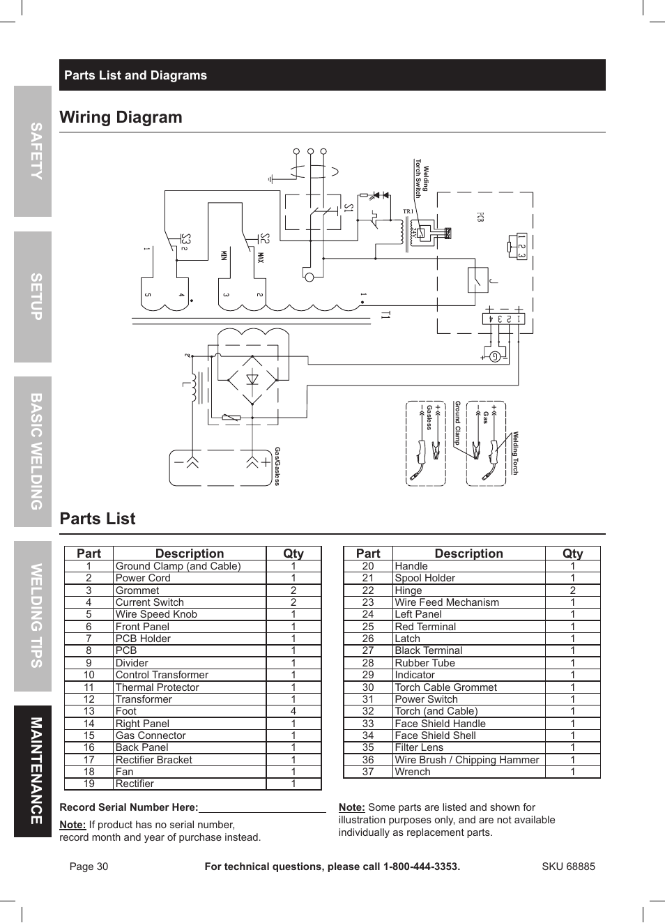 wiring diagram  parts list